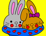 Coloring page Rabbits in love painted byLeslie