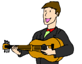 Coloring page Classical guitarist painted bylexi