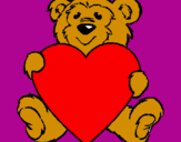 Coloring page Bear in love painted byyeicari