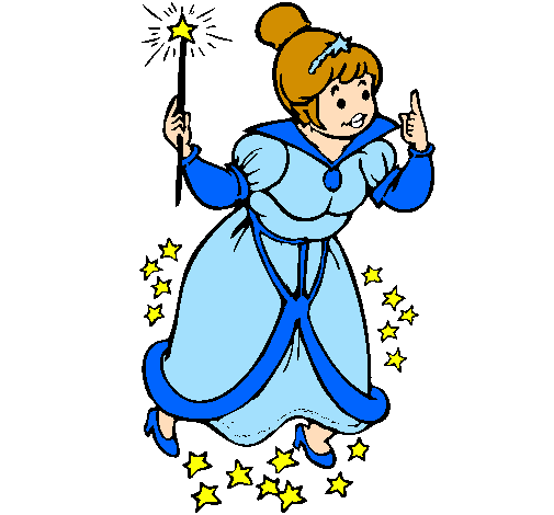 Coloring page Fairy godmother painted bylalita