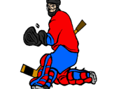 Coloring page Goaltender stopping puck painted bysssssshhhhhhhhhhh