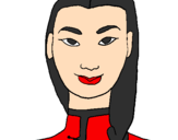 Coloring page Young Chinese woman painted byGIL ESCARRABILL