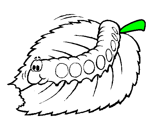 Coloring page Caterpillar eating painted byworm