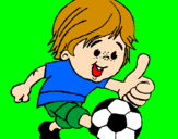 Coloring page Boy playing football painted byjulia