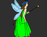 Coloring page Fairy with long hair painted bymelanie