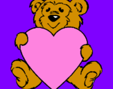 Coloring page Bear in love painted byzoe