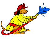 Coloring page Firefighter dalmatian painted byemily