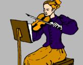 Coloring page Female violinist painted bymmm