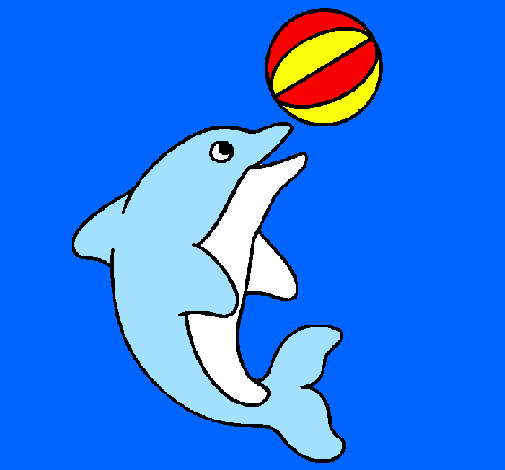 Coloring page Dolphin playing with a ball painted byvera celine