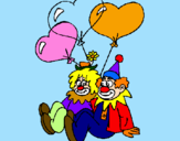 Coloring page Clowns in love painted byFlor