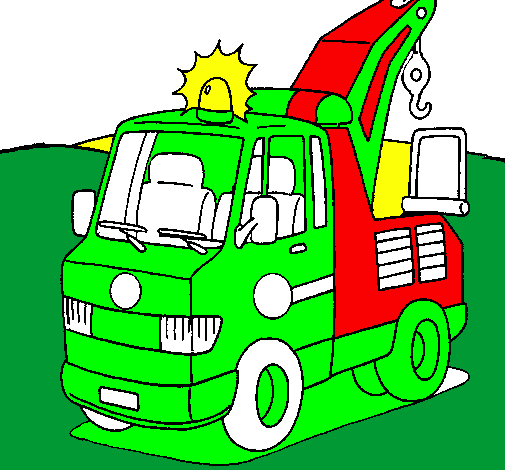 Coloring page Tow truck painted byTOMAS