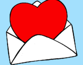 Coloring page Heart in an envelope painted bysara