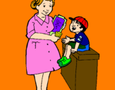 Coloring page Nurse and little boy painted byEleni