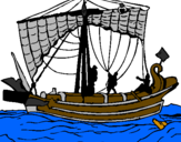 Coloring page Roman boat painted by sanz