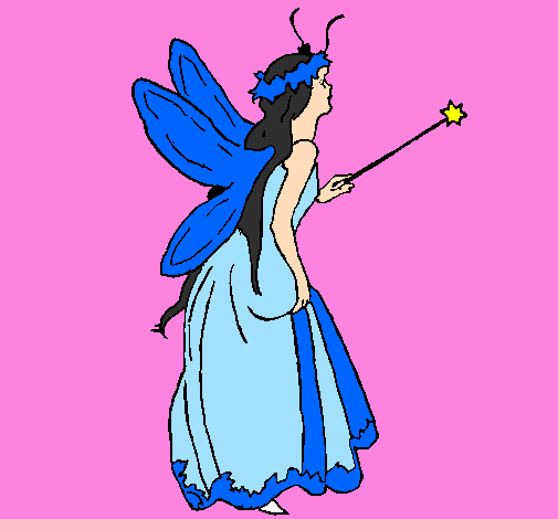 Coloring page Fairy with long hair painted byRuby