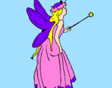 Coloring page Fairy with long hair painted bycrystalena