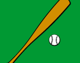 Coloring page Baseball bat and baseball ball painted bychas