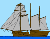 Coloring page Sailing boat with three masts painted byTiger