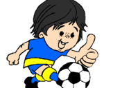 Coloring page Boy playing football painted byTwisters Boy