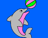 Coloring page Dolphin playing with a ball painted bylinda kenya