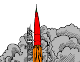 Coloring page Rocket launch painted bysergio