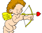Coloring page Cupid aiming his bow  painted bykeke