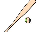 Coloring page Baseball bat and baseball ball painted bymario