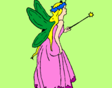 Coloring page Fairy with long hair painted byKaycee