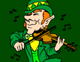 Coloring page Leprechaun playing the violin painted bypatrick