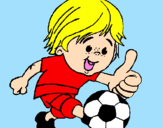 Coloring page Boy playing football painted bysofia