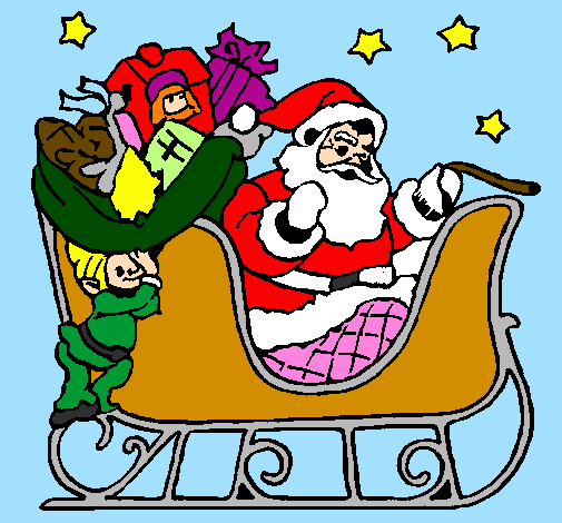 Coloring page Father Christmas in his sleigh painted byyelitza   mama