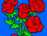 Coloring page Bunch of roses painted byperla