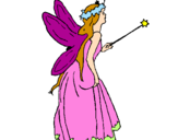 Coloring page Fairy with long hair painted bydania