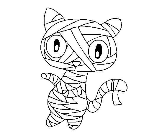 Coloring page Doodle the cat mummy painted byBADR