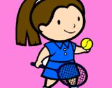 Coloring page Female tennis player painted byEVELYN
