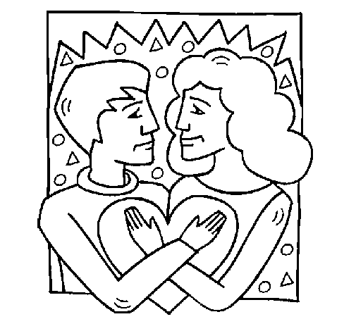 Coloring page Boy and girl in love painted byyuan