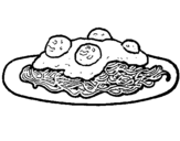 Coloring page Spaghetti with meat painted bysss