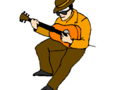 Coloring page Guitarist wearing hat painted byJustas The Lt
