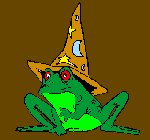 Coloring page Magician turned into a frog painted byanna