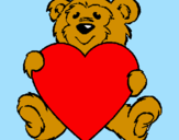 Coloring page Bear in love painted byjon