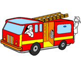 Coloring page Firefighters in the fire engine painted byviki