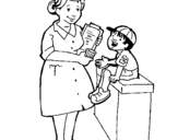 Coloring page Nurse and little boy painted byasa