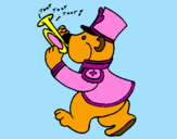 Coloring page Bear trumpet player painted bypom-pom,flufy,