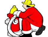 Coloring page Firefighter and fire hydrant painted by v epgtg