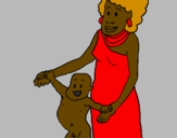 Coloring page Mother and son from Guinea painted byarryill