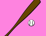Coloring page Baseball bat and baseball ball painted byisis
