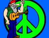Coloring page Hippy musician painted bymacey