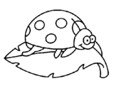 Coloring page Ladybird on a leaf painted byyuan
