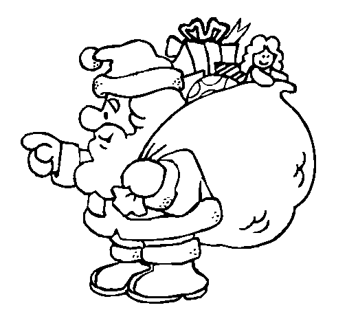 Coloring page Santa Claus with the sack of presents painted byyuan