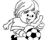 Coloring page Boy playing football painted byfoot ball one